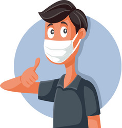 man wearing mask doing ok sign vector image