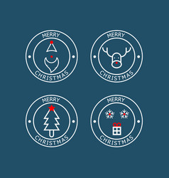 merry christmas badge flat design vector image