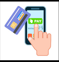 mobile payment concept with bank card vector image