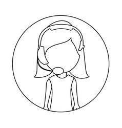 Monochrome circular frame with woman call center vector
