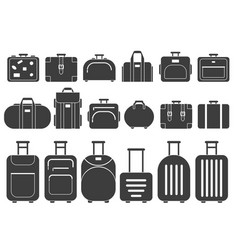 monochrome pictures of suitcases and vector image