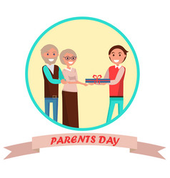 Parents day banner with colorful inscription vector
