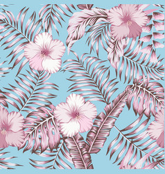 pink tropical leaves and hibiscus seamless blue vector image