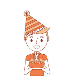 portrait young boy holding birthday cake wearing vector image