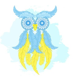 Printable fashion of cartoon owl from hand drawn vector