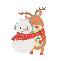 reindeer and deer with scarf celebration merry vector image