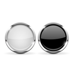 Round glass buttons set of black and white 3d vector