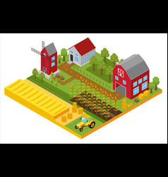 Rural 3d farm isometric template with mill garden vector