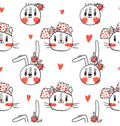 seamless pattern with faces cats and rabbits in vector image