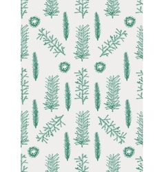 Seamless pattern with hand drawn pine fir branches vector