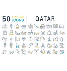 Set line icons qatar vector