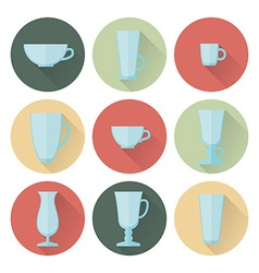 Set of cups and glasses for coffee vector image