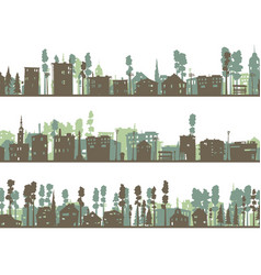 set of horizontal childish banners of built home vector image