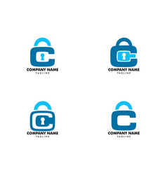 set of padlock letter c logo template vector image