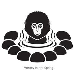 Snow monkey in hot spring monochrome vector