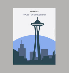 Space needle seattle washington vintage style vector