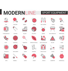 sport fitness equipment red black flat line icon vector image