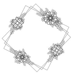 square frame with doodle flowers and branches vector image