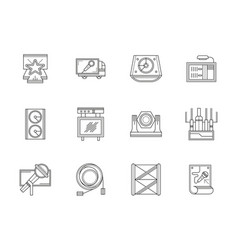 Stage equipment flat line icons set vector