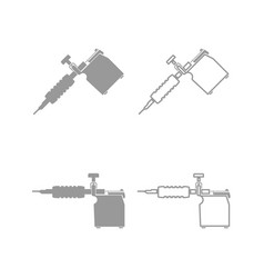 tattoo machines icon grey set vector image