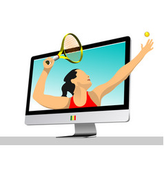 Tennis player into monitor colored for designers vector