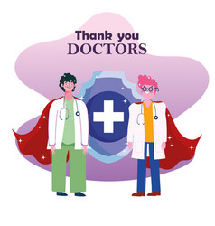 Thanks you doctors male physicians with vector