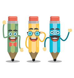 three funny pencil in a flat style vector image