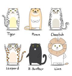 tiger character set vector image