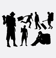Tourist male and female pose silhouette vector