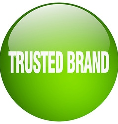 Trusted brand green round gel isolated push button vector