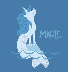 unicorn mermaid in water vector image