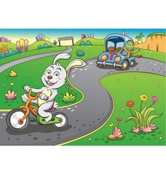 vehicles rabbit turtur background vector image
