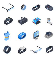 Wearable technology isometric icons set vector