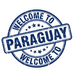 Welcome to paraguay blue round vintage stamp vector