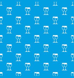 Wine glasses pattern seamless blue vector