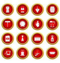wine icon red circle set vector image