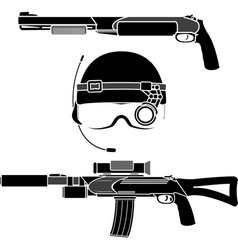 combat helmet and weapons vector image