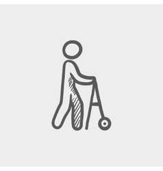 Disabled person with walking sketch icon vector image
