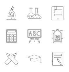 Education icons set outline style vector