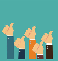 male hands show thumbs up in flat vector image