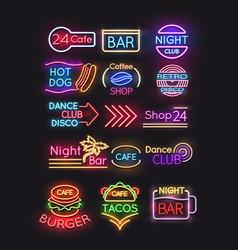night bar burger coffee cafe neon signs set vector image