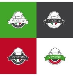 retro badge for pizza restaurant Italian vector image vector image