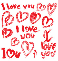 set of brush strokes and scribbles in heart shapes vector image vector image