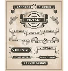 Vintage hand drawn banner and ribbon design set vector image vector image