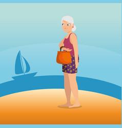 woman walking along the beach design vector image