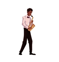 Young African American male saxophone player vector image