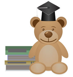 Bear with books vector image