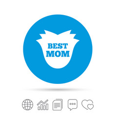 best mom sign icon flower symbol vector image vector image