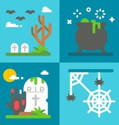 Flat design Halloween decor set vector image vector image