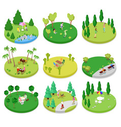 isometric outdoor park composition set vector image vector image